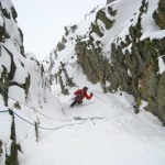 Bailing into a cool couloir